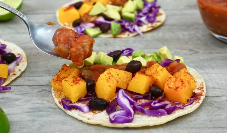spicy roasted butternut squash tacos