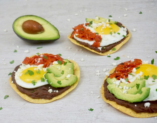 Black Bean Tostadas with Egg, Avocado, and Pepperoni