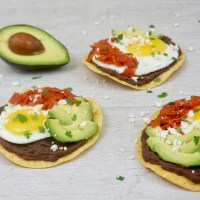 Breakfast Bean Tostada With Egg and Pepperoni