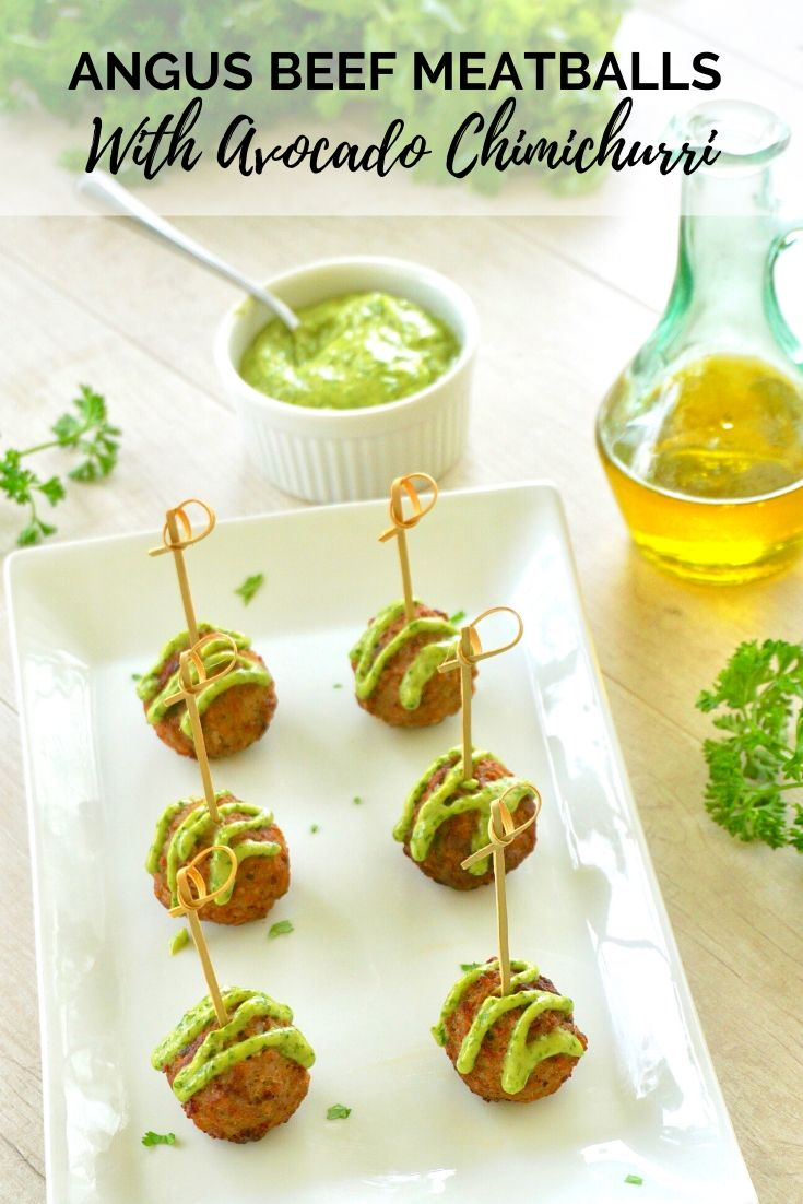 Angus Beef Meetballs with avocado chimichurri. Easy meatball appetizer.