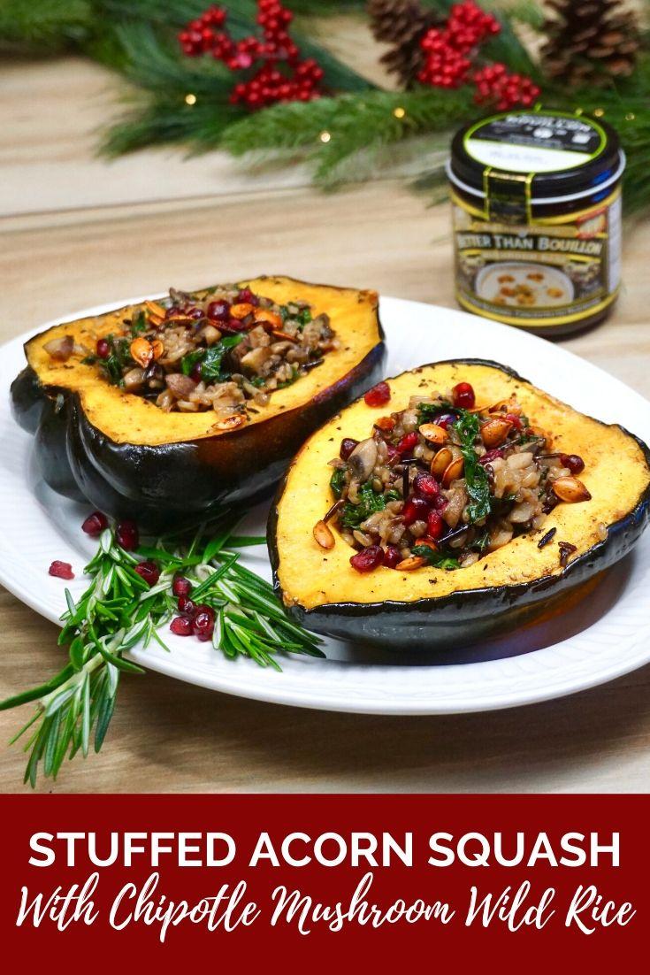 Stuffed Acorn Squash with Chipotle Mushroom Wild Rice. Vegetarian holiday recipe.