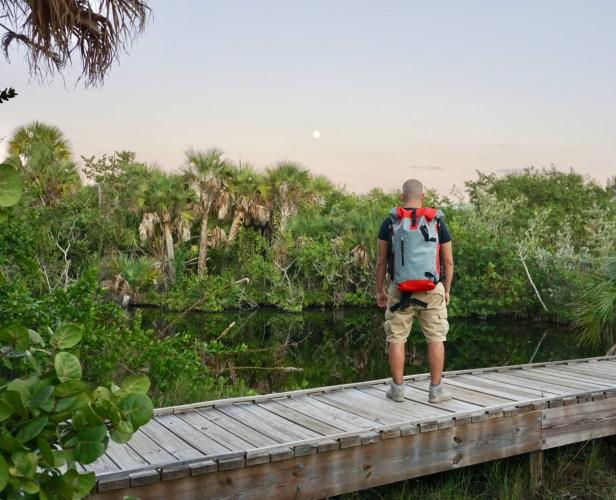 Hiker with waterproof backpack