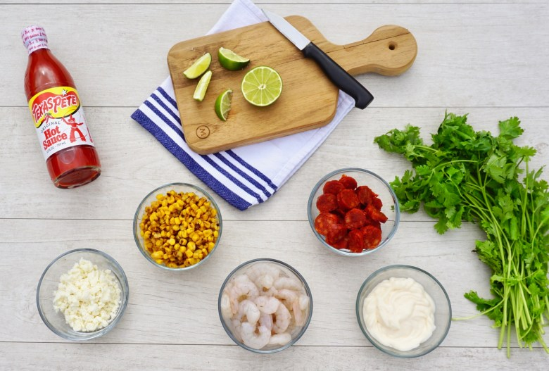 Ingredients for Charred Mexican Corn Salad with Shrimp and Chorizo