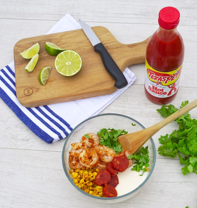 Charred Mexican Corn Salad with Shrimp and Chorizo recipe with Texas Pete hot sauce