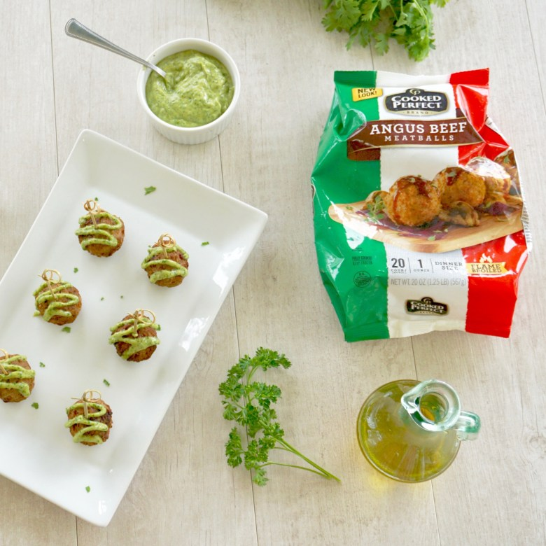 Angus Beef Meatballs with Avocado Chimichurri Sauce