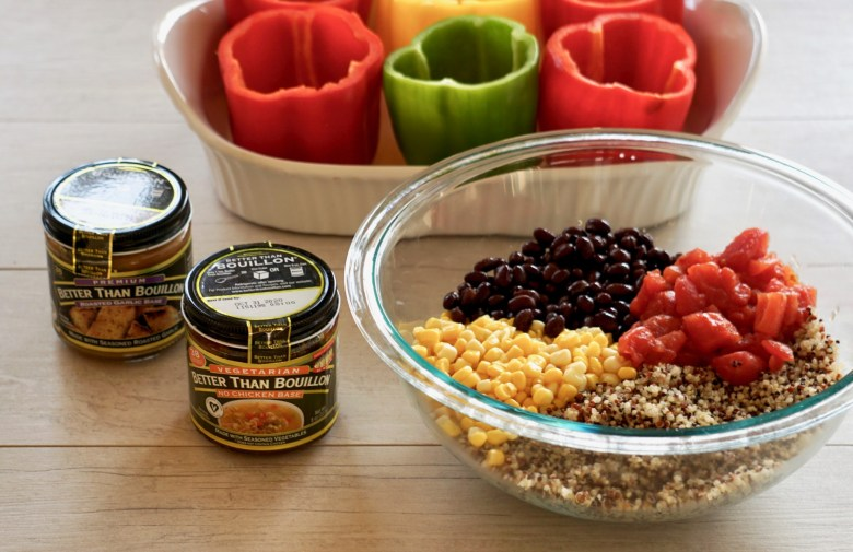 Ingredients for Mexican quinoa stuffed peppers