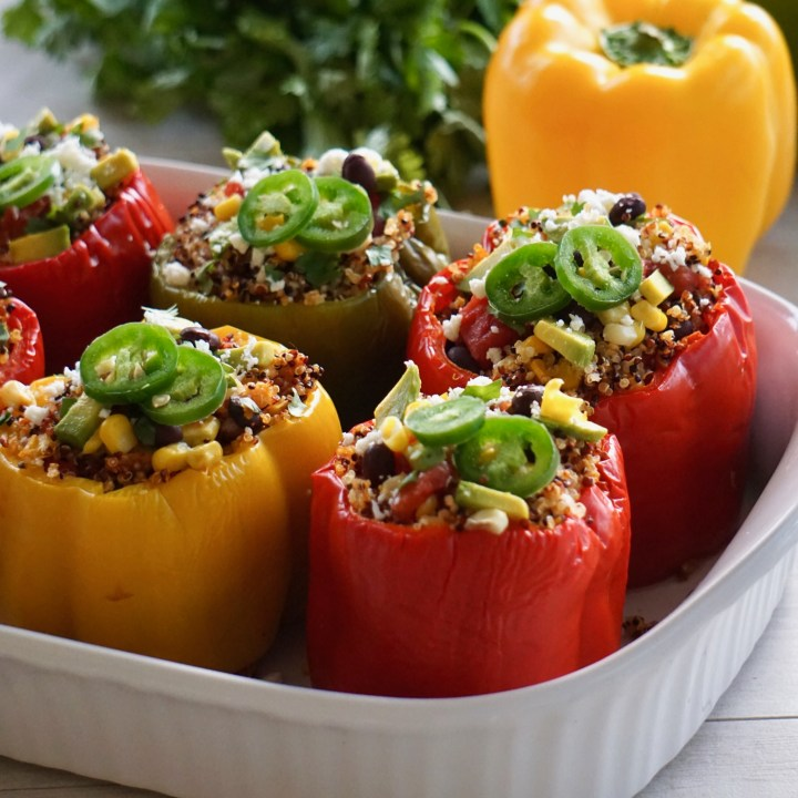 Spicy Mexican Quinoa Stuffed Peppers (Vegetarian)