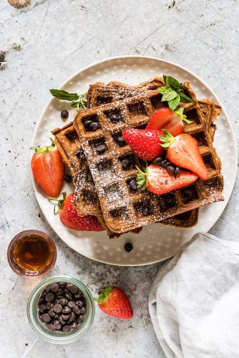 chocolate chip sweet potato waffles with berries