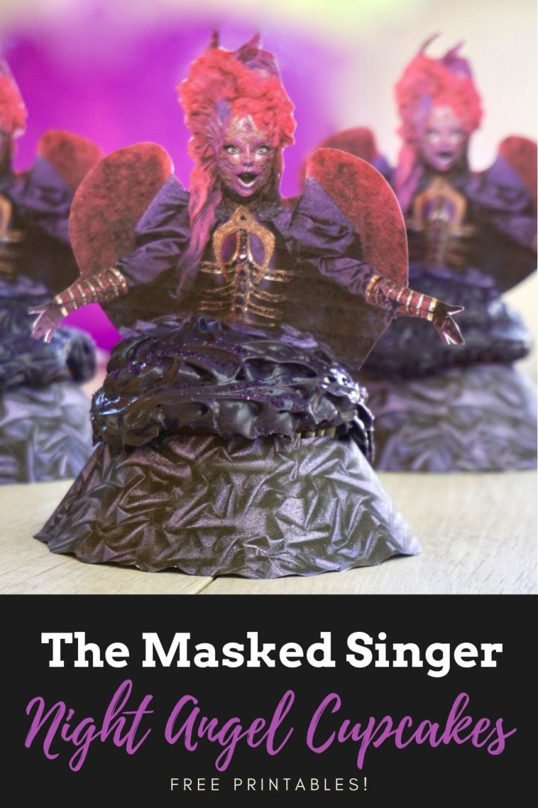 The Masked Singer Night Angel cupcakes free printables