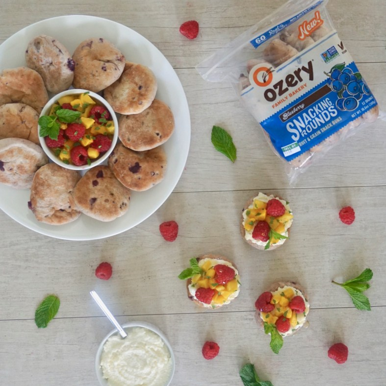 Ozery snacking rounds blueberry topped with fruit