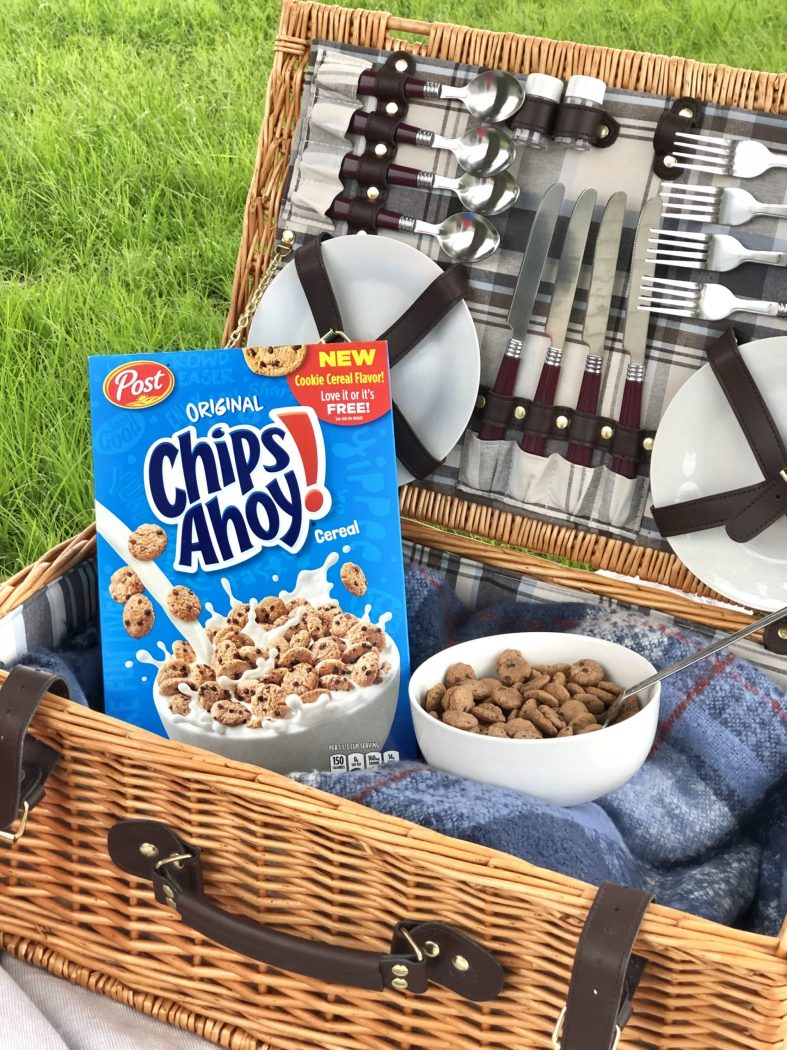 Cereal breakfast picnic with Chips! Ahoy