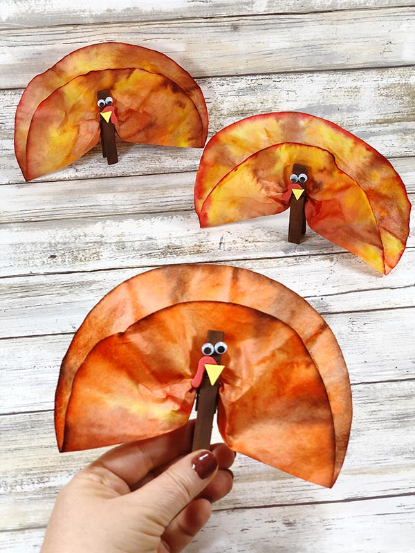 cute coffee filter thanksgiving turkey craft