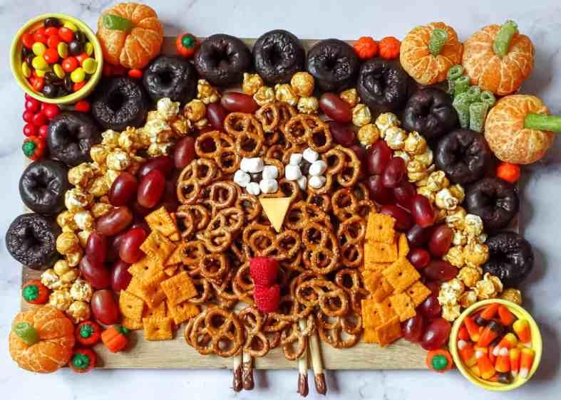 kids turkey shaped appetizer charcuterie board