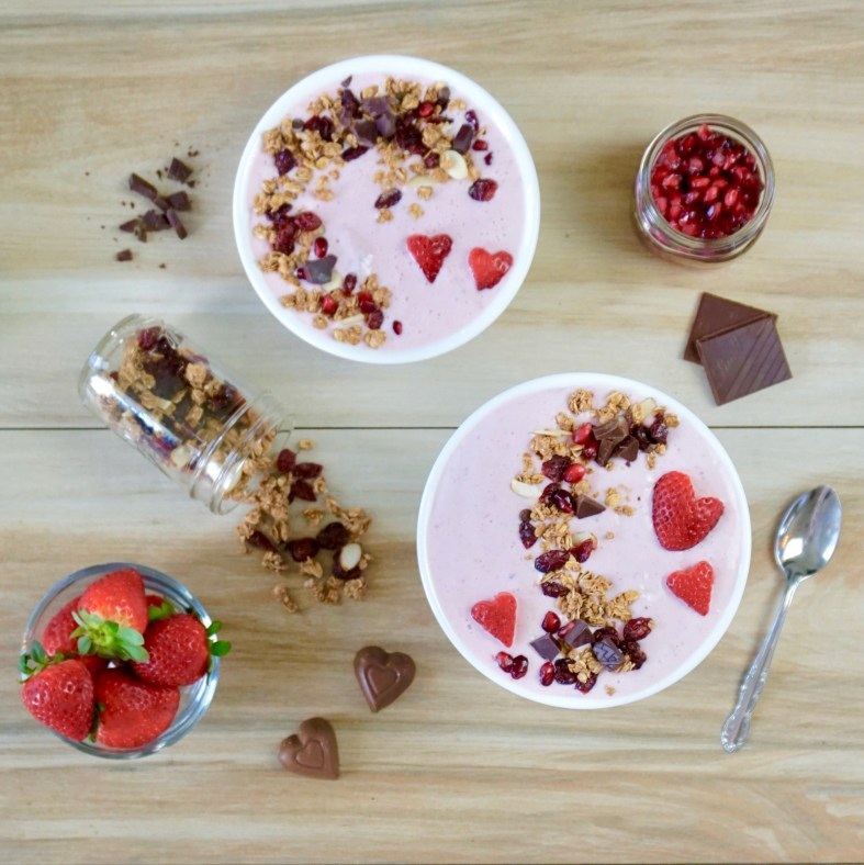 strawberry and raspberry protein smoothie bowl