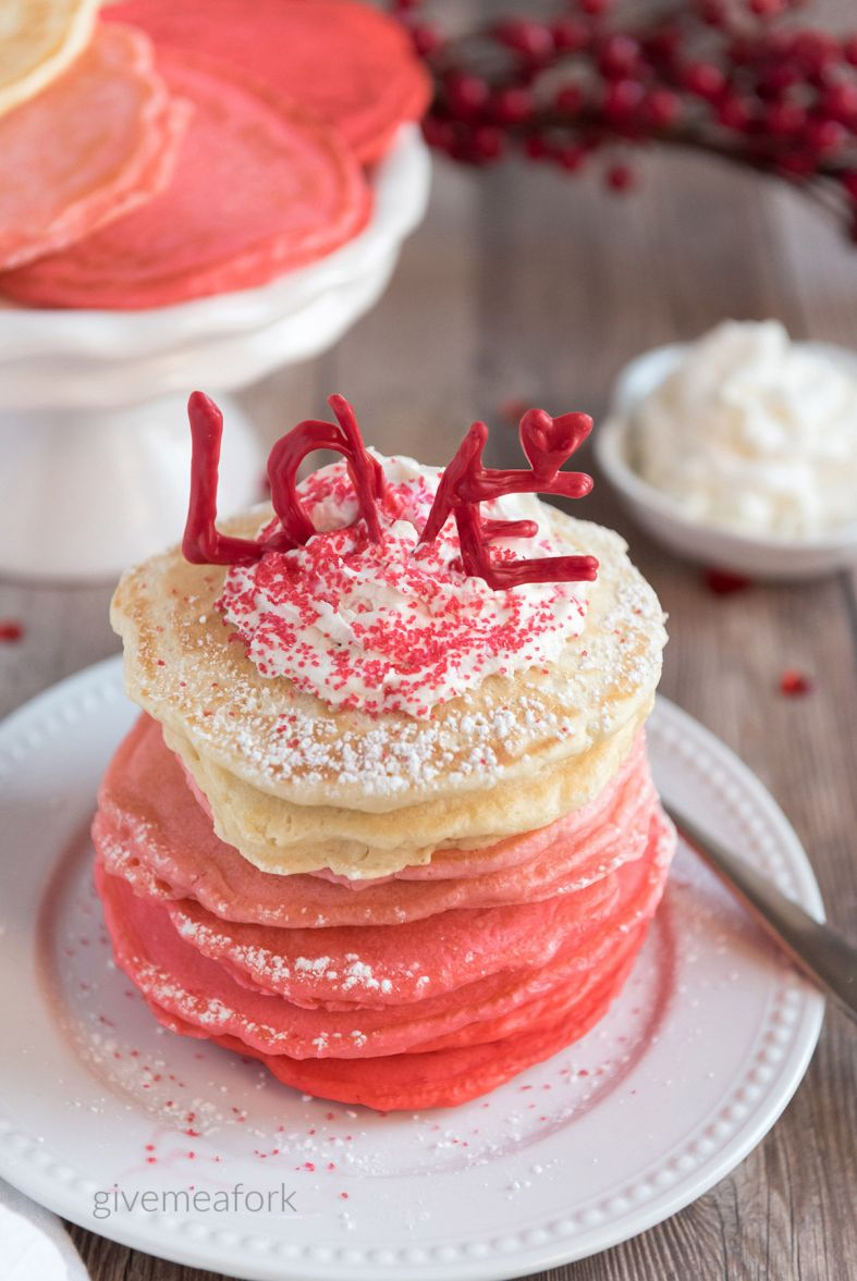 Pink Pancakes for Valentines Breakfast