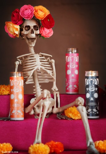 Day of the Dead Cricut craft candle wrappers with free SVG file