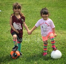 Practicing soccer.