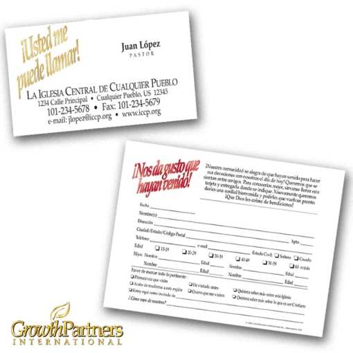 spanish calling card and registration card