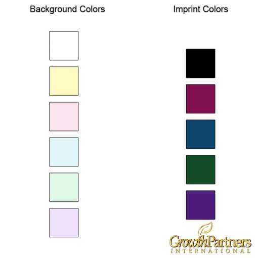 background and imprint colors available for the sticky note pads