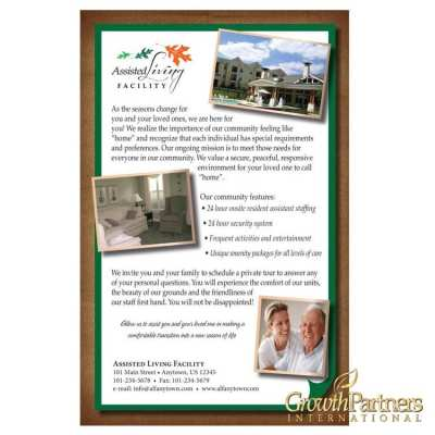 Close up of the custom leaflet insert from assisted living facilities