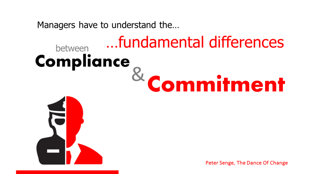 The difference between compliance and commitment is key