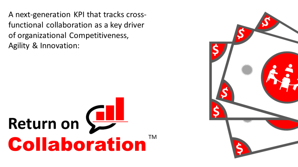 Return on Collaboration is a next-generation KPI that tracks cross-functional collaboration as a key driver of organizational Competitiveness, Agility & Innovation: