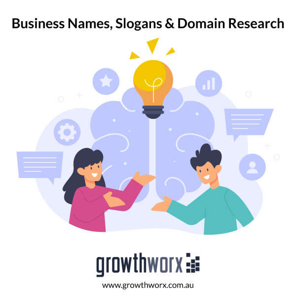 I will create 10 productive business names, slogans and domain research 1