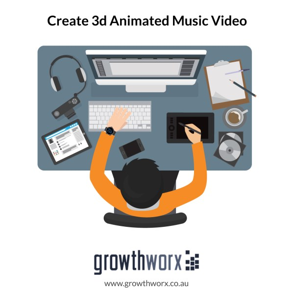Create your 3d animated music video with duration of 300 seconds 1