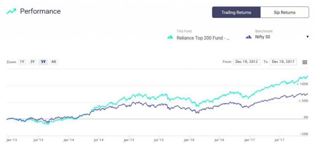 Reliance Large Cap 5 year performance