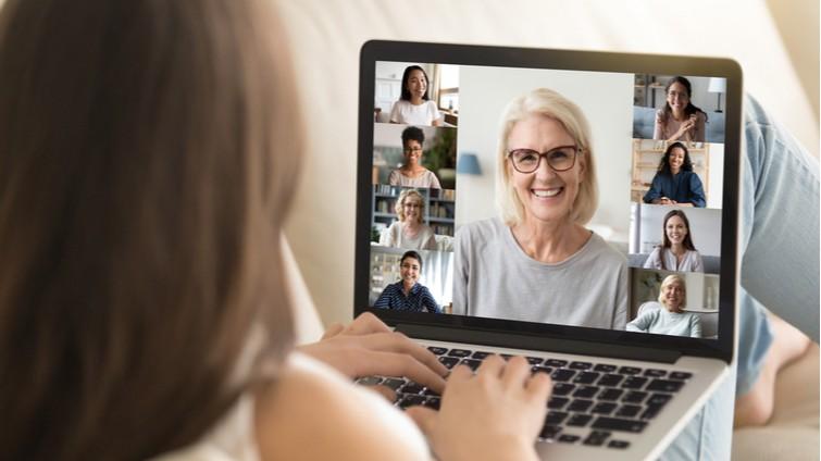 older woman on virtual group call