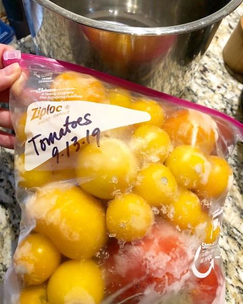 Frozen heirloom tomatoes