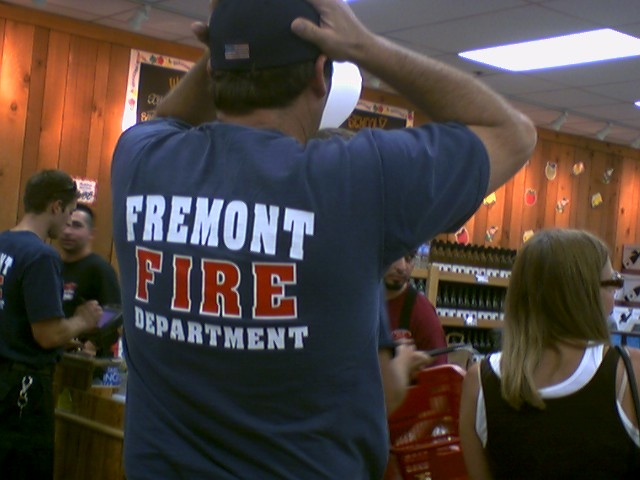 fire fighter in trader joe's