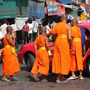 monks in a taxi