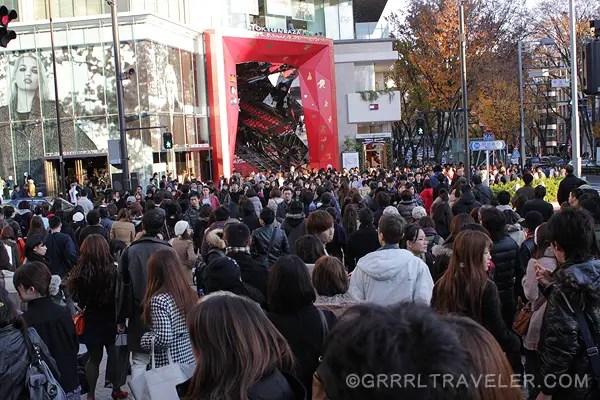 japan crowds, harajuku area