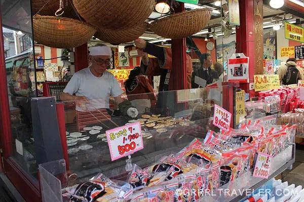 senbei maker in japan, sokoji vendor, japanese senbei cracker maker