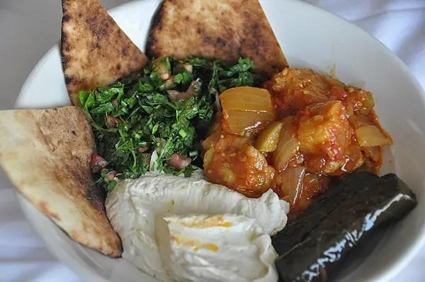 Must Try Vegetarian Foods in Saudi Arabia, tabouleh, hummus, grape leaves dolma