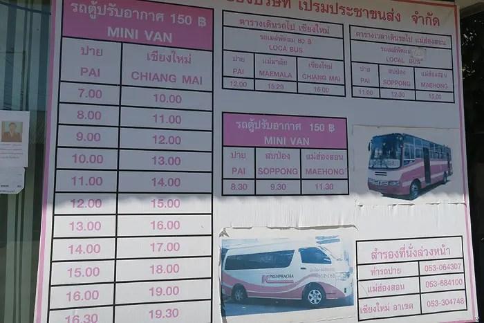 Pai to Chiang Mai bus schedules, Pai bus schedule