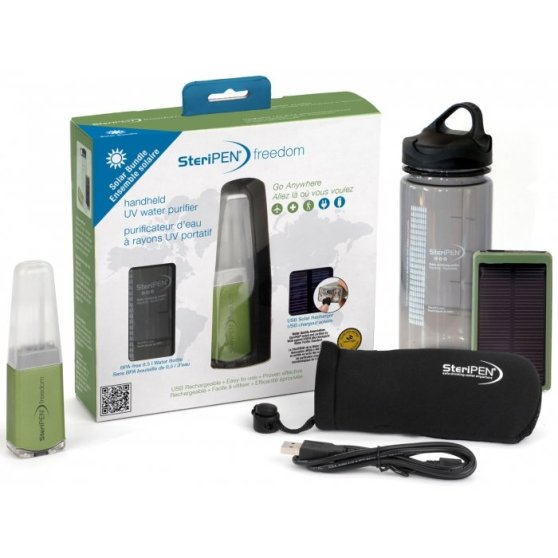 steripen freedom solar bundle, water filter for travel, water purifier, travel gift list