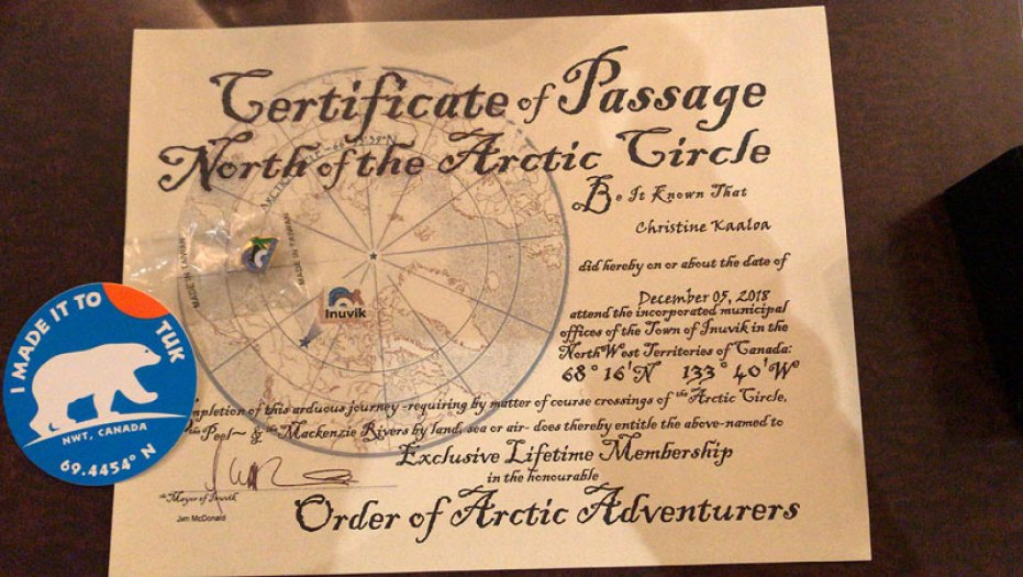 arctic circle certificate, Eagle Plains, Dempster Highway