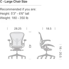 herman miller chair sizes 2016 acura mdx captains chairs aeron build your own large c