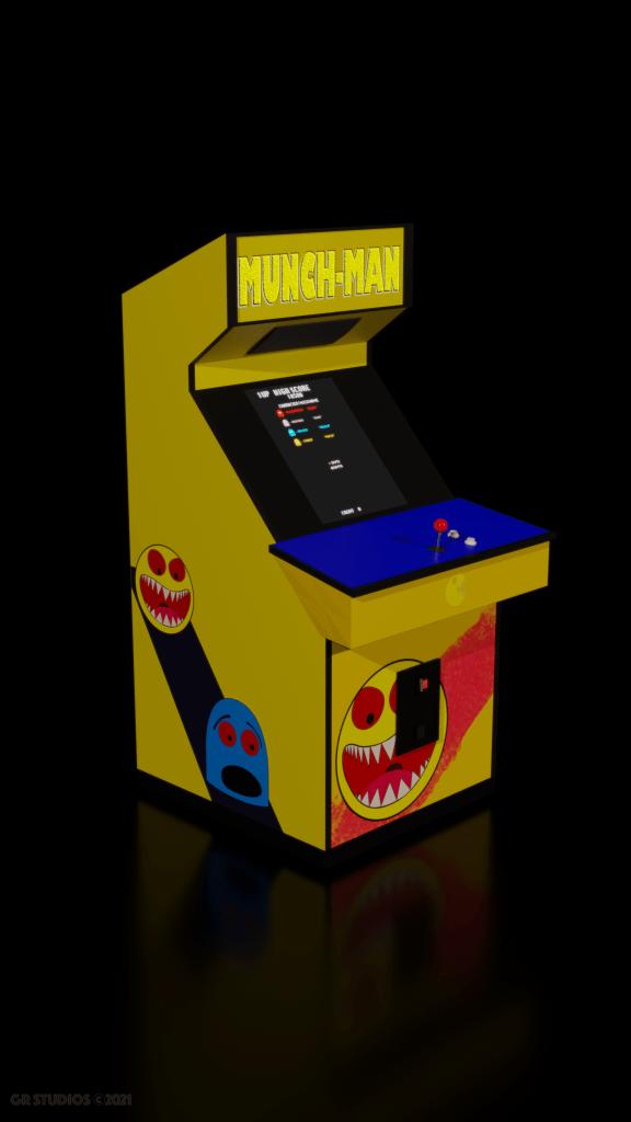 Munch-Man Arcade Machine Quarter View