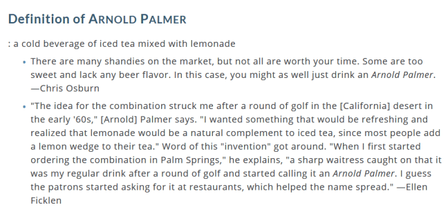 definition of arnold palmer a cold beverage of iced tea