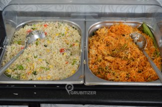 Corn Capsicum Pulao (L) and Mix Veg Biryani (R)