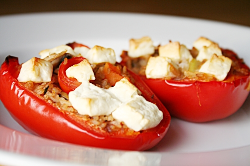 Roasted peppers stuffed with rice, vegetables and feta cheese