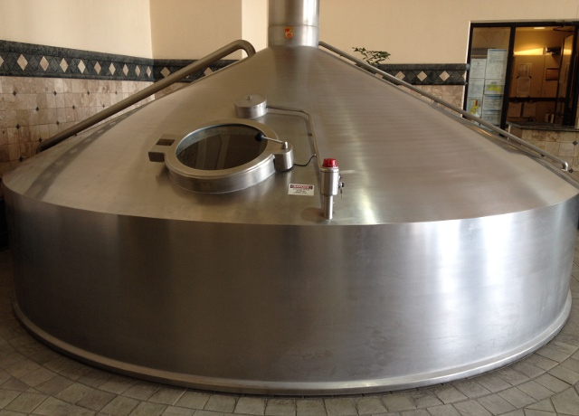 Stainless steel kettle.