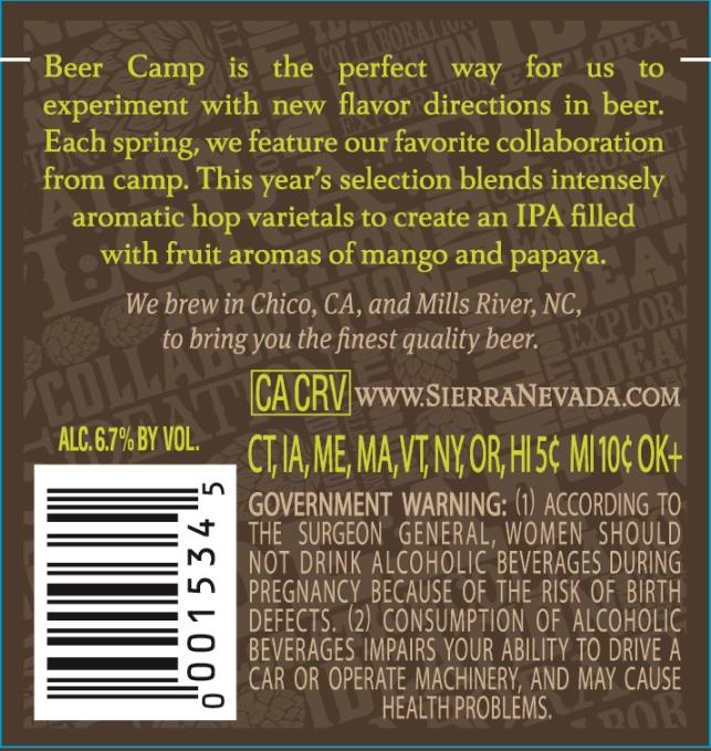 Sierra Nevada Beer Camp Tropical IPA (back)