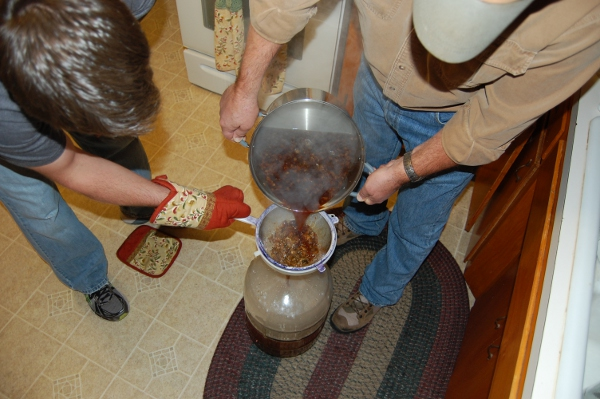Pouring wort into the fermenter