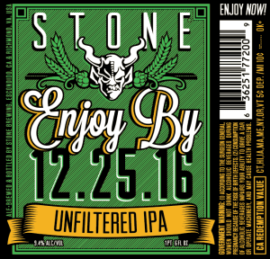 Stone Enjoy By 12.25.16 Unfiltered IPA