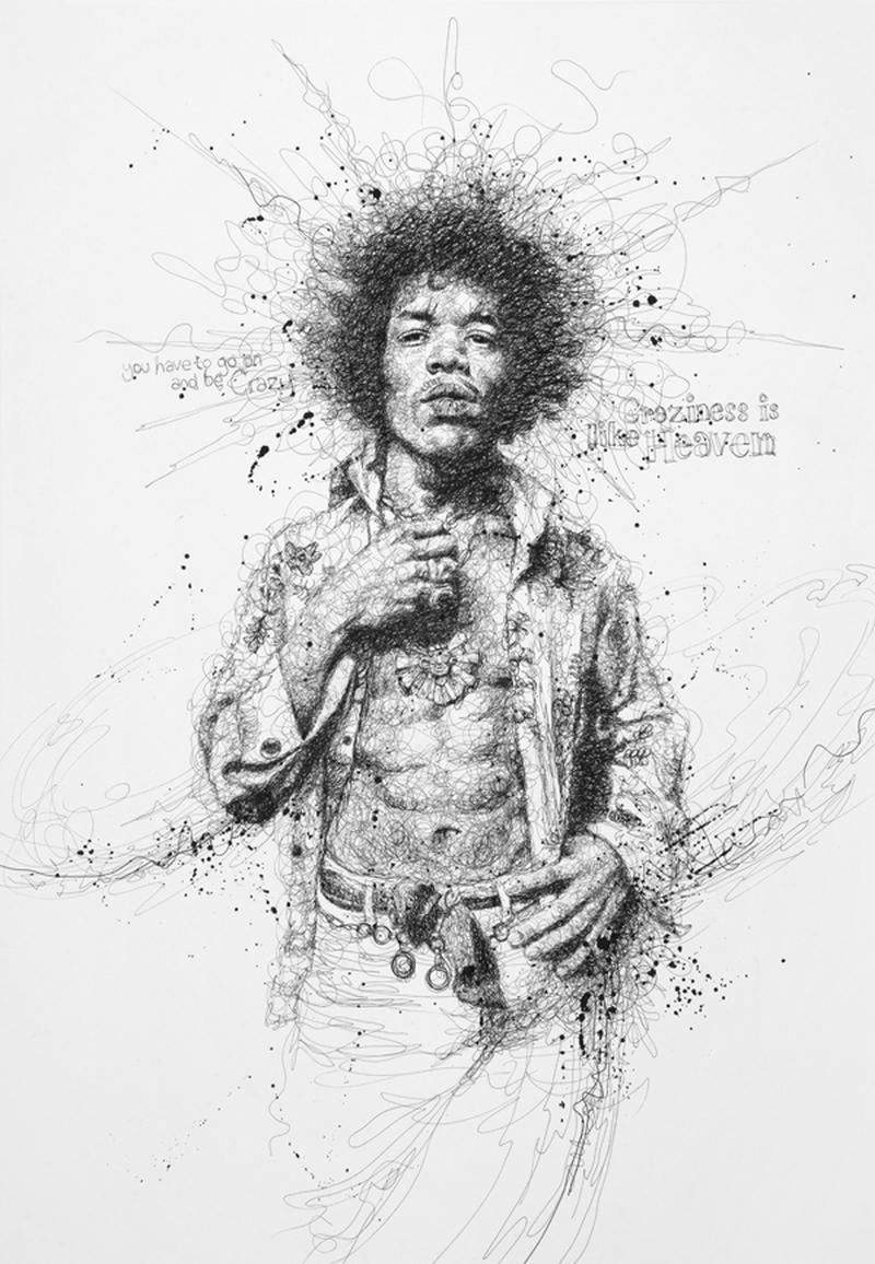 Portretele unor celebrităţi, create din mâzgălituri de un