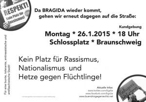 Bündnis gegen Rechts-Aufruf Anti-Bragida-Kundgebung 26.01.15-verkleinert